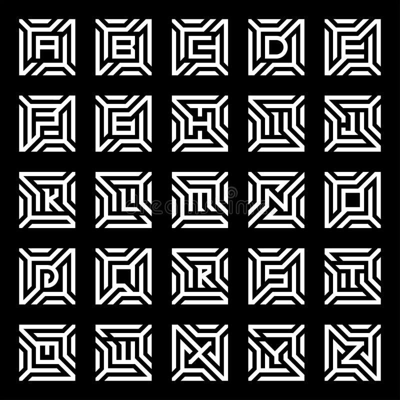 Collection of logo design maze alphabet vector 皇族释放例证