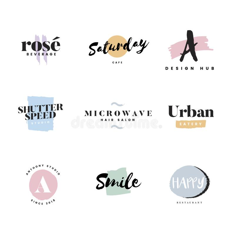 Collection of logos and branding vector vector illustration