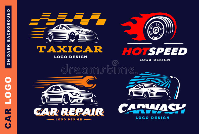 Collection of logos car, taxi service, wash, repair vector illustration