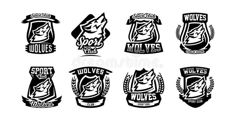 Collection of logos, emblems, howling wolf. stock illustration