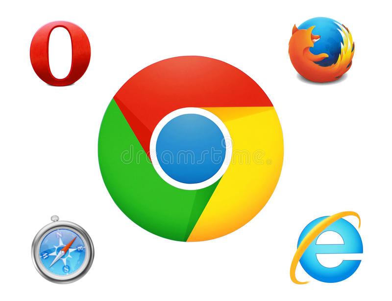 Collection of logos Google Chrome and others browsers. Kiev, Ukraine - March 30, 2016: Collection of logos Google Chrome and others browsers printed on paper and stock illustration