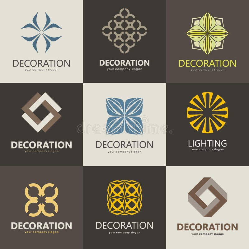 Wonderful A Collection Of Logos For Interior, Furniture Shops, Companies Make  Furniture, Decor Items And Home Decoration. Vector Logo Concept.