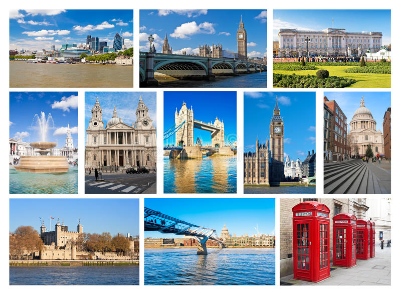 Collection of London landmarks and iconic symbols stock photography