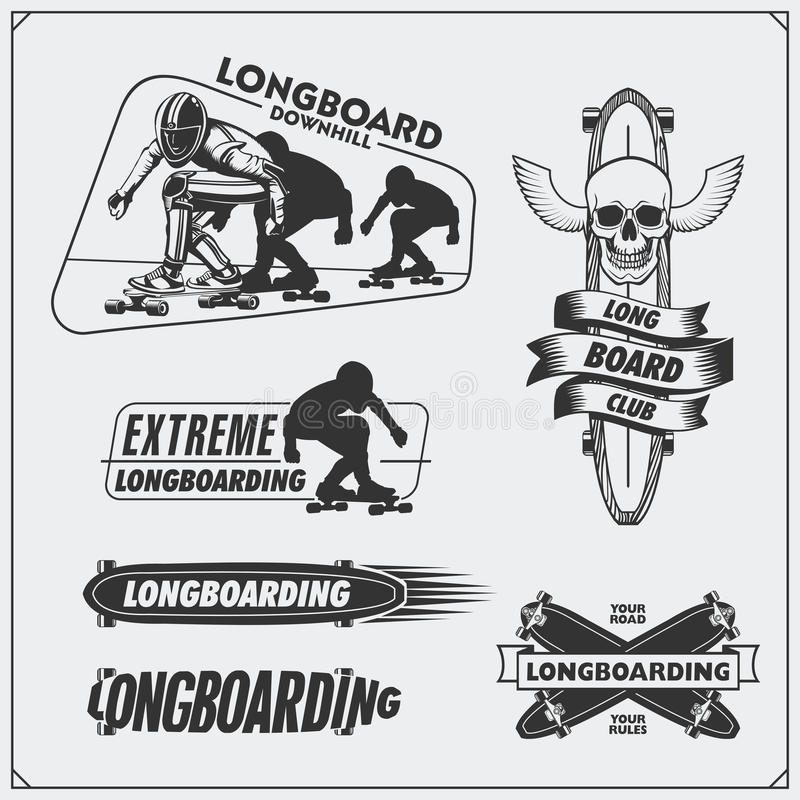Collection of longboarding and skateboarding labels, emblems, badges and design elements. Silhouette of a longboarders. Black and white illustration royalty free illustration