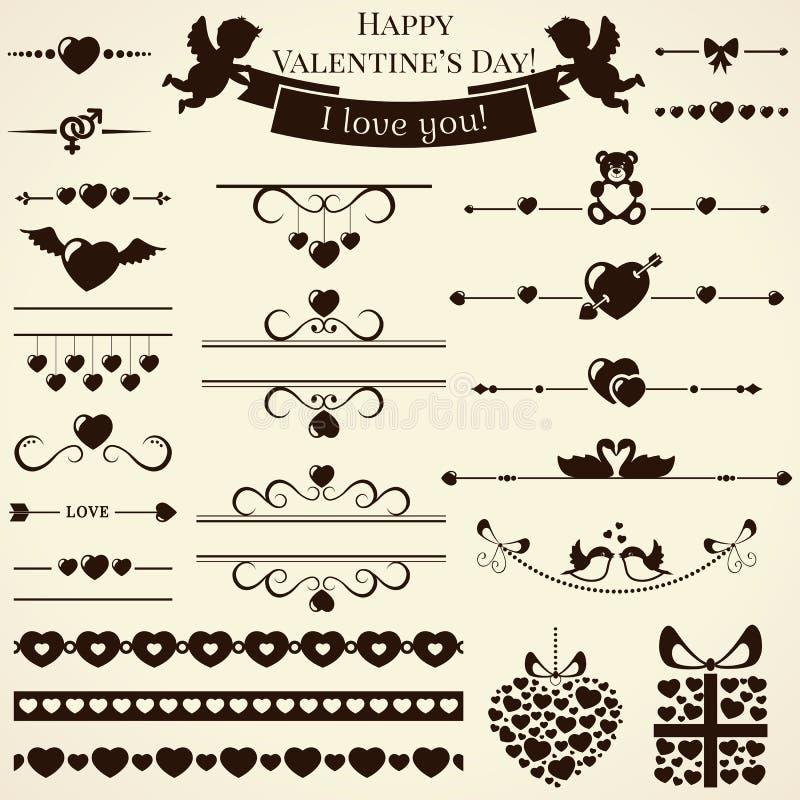 Collection of love design elements. Vector illustr stock illustration