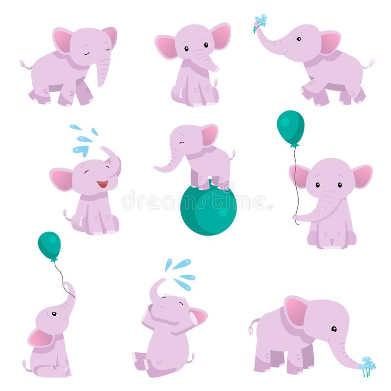 Collection of Lovely Baby Elephant Pink Animal Character in Different Poses Vector Illustration. Isolated on White Background vector illustration