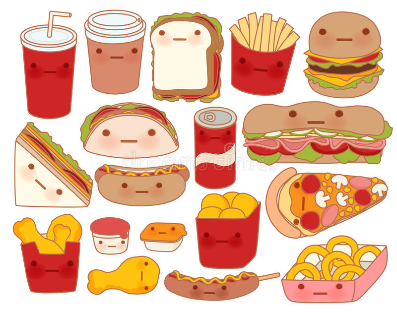 Collection of lovely baby food doodle icon , cute hamburger , adorable sandwich , sweet pizza , kawaii coffee , girly taco. In childlike manga cartoon style royalty free illustration