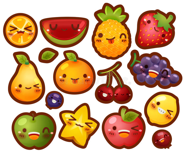 Collection of lovely baby fruit doodle icon. Cute strawberry, adorable melon, sweet orange, kawaii berry, girly apple in childlike manga cartoon for kid and royalty free illustration