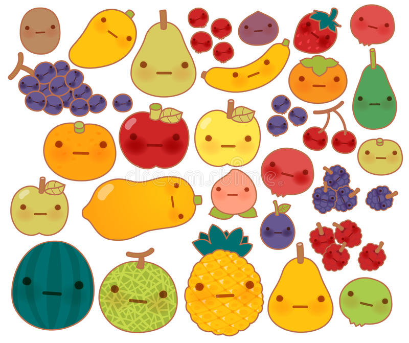 Collection of lovely baby fruit and vegetable doodle icon , cute strawberry , adorable apple , sweet cherry , kawaii banana vector illustration