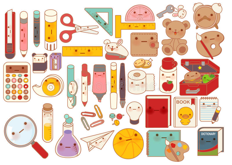 Collection of lovely baby stationery character doodle icon , cute pencil , adorable teddy bear doll , sweet lunchbox , kawaii book. Girly pen in childlike stock illustration