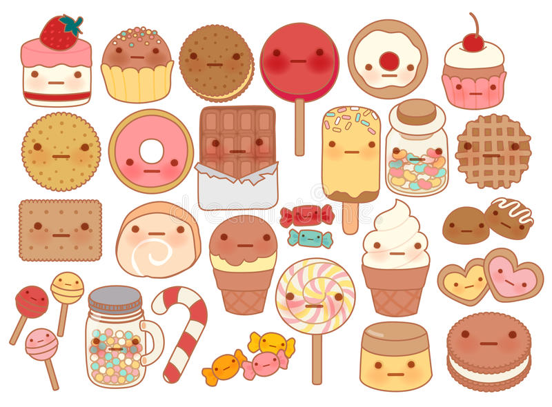 Collection of lovely baby sweet and dessert doodle icon , cute cake , adorable candy , sweet ice cream , kawaii jelly bean. Girly cookie in childlike manga royalty free illustration