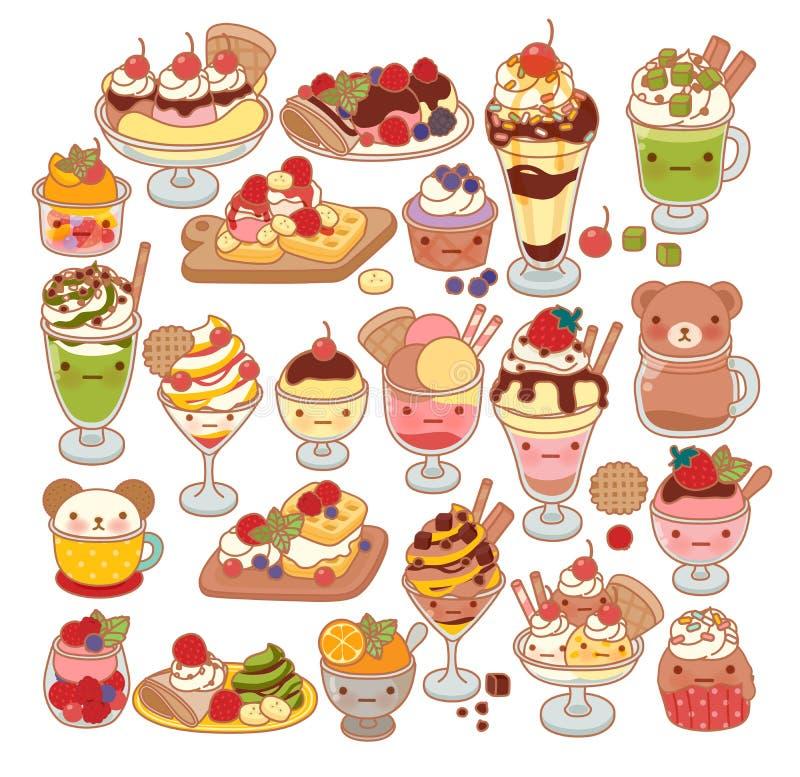 Collection of lovely baby sweet dessert doodle icon, cute ice cream, adorable waffle, sweet crepe, kawaii sundae, girly parfait. In childlike manga cartoon vector illustration