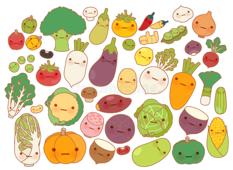 Collection of lovely fruit and vegetable icon , cute carrot , adorable turnip , sweet tomato , kawaii potato, girly corn vector illustration