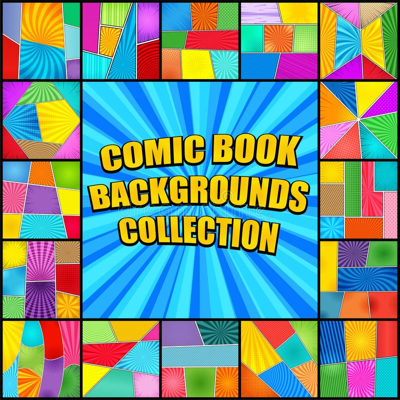 Collection lumineuse de milieux de bande dessinée illustration de vecteur