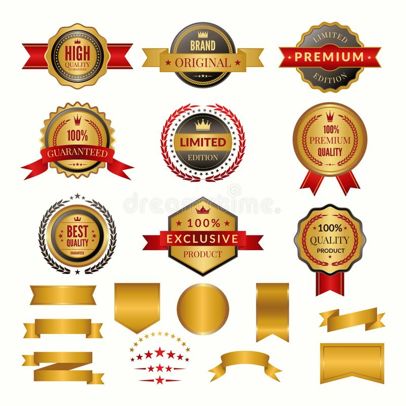Collection of luxury gold badges and logos. Vector labels set for yours personal design projects stock illustration