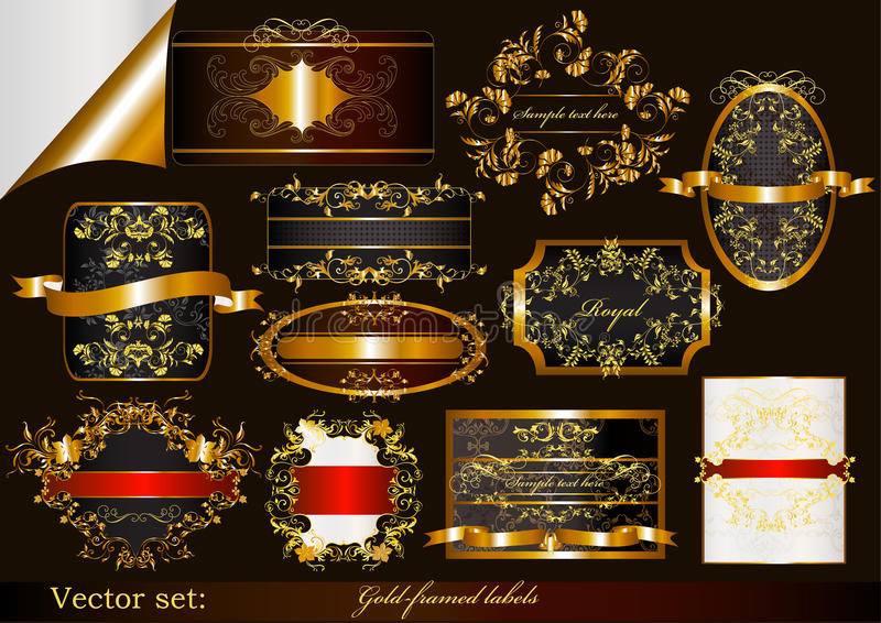 Collection of luxury gold-framed labels royalty free illustration