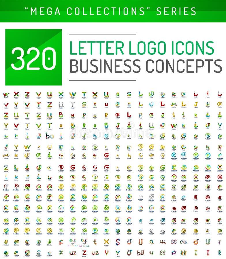 Collection méga énorme d'icônes d'affaires de logo de lettre illustration libre de droits