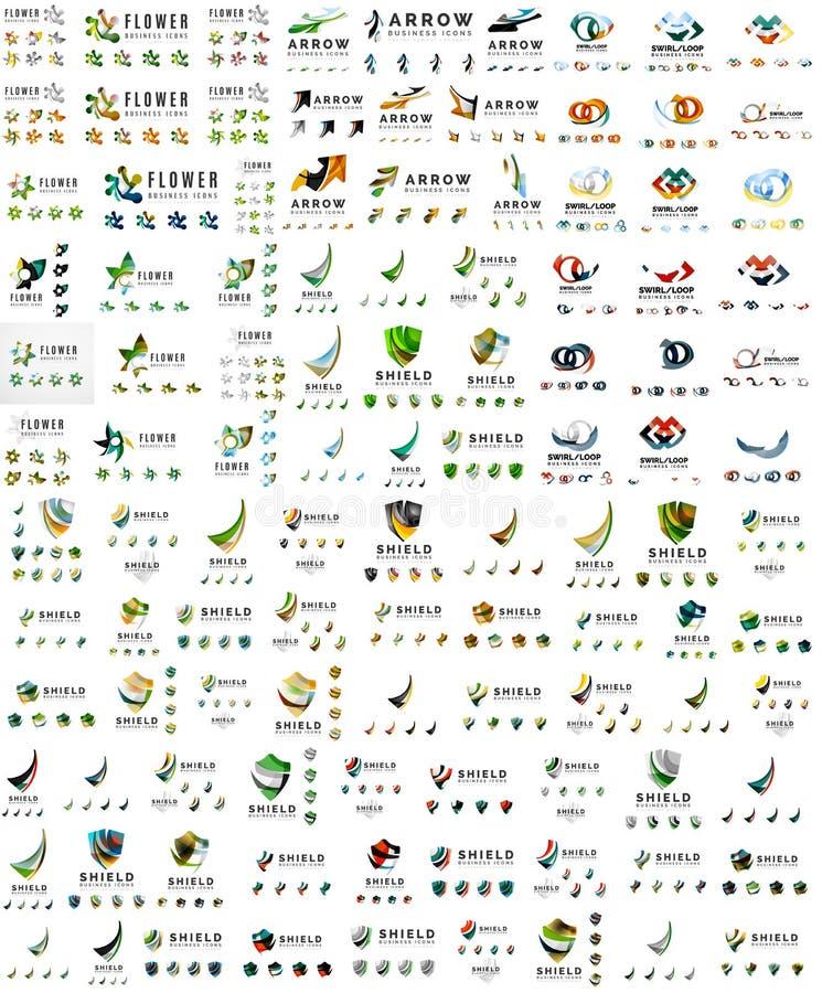 Collection méga énorme de logo, icône abstraite d'affaires illustration de vecteur