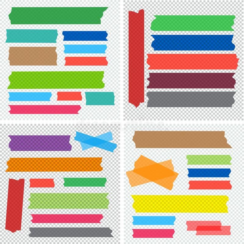 Collection méga d'ensemble de vecteur de morceaux de ruban adhésif illustration stock