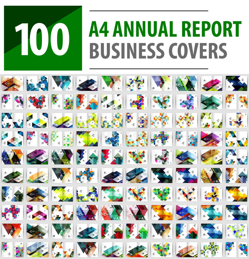 Collection méga de 100 calibres de brochure de rapport annuel d'affaires, couvertures de la taille A4 illustration libre de droits