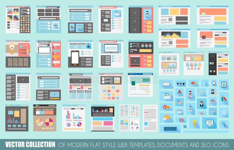Collection méga de calibres plats de site Web de style illustration libre de droits