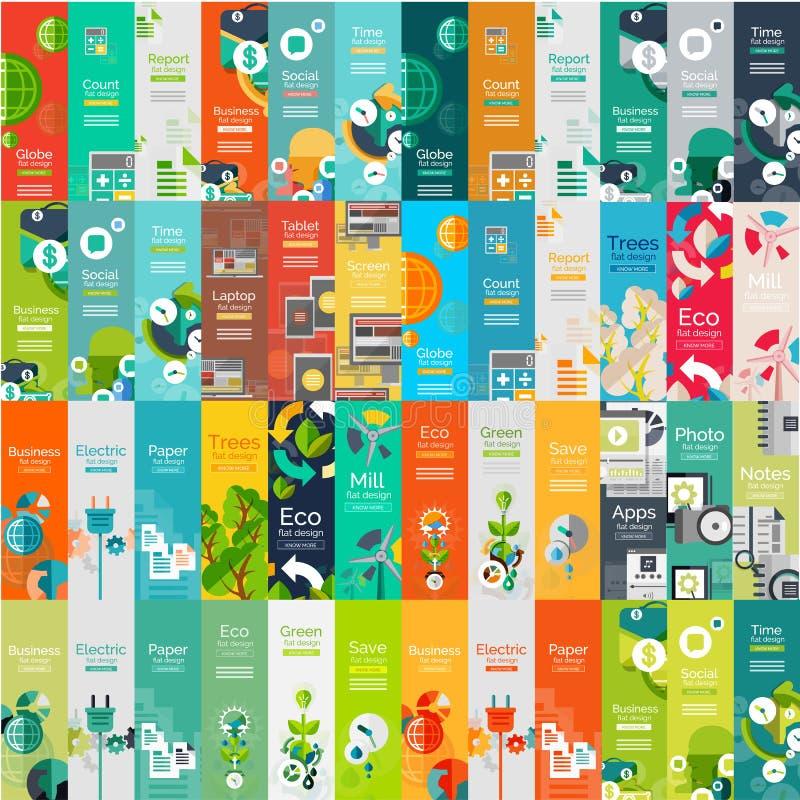 Collection méga de concepts infographic de Web plat illustration stock