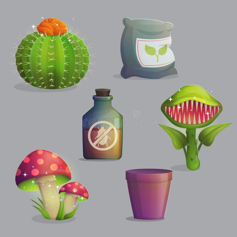 Collection magique de plantes et de fleurs d'imagination illustration de vecteur