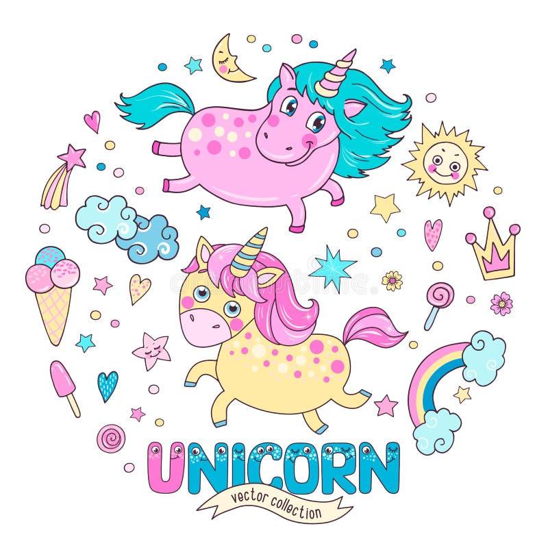 Collection magique mignonne avec deux licornes, arc-en-ciel, nuages, crème glacée  illustration stock