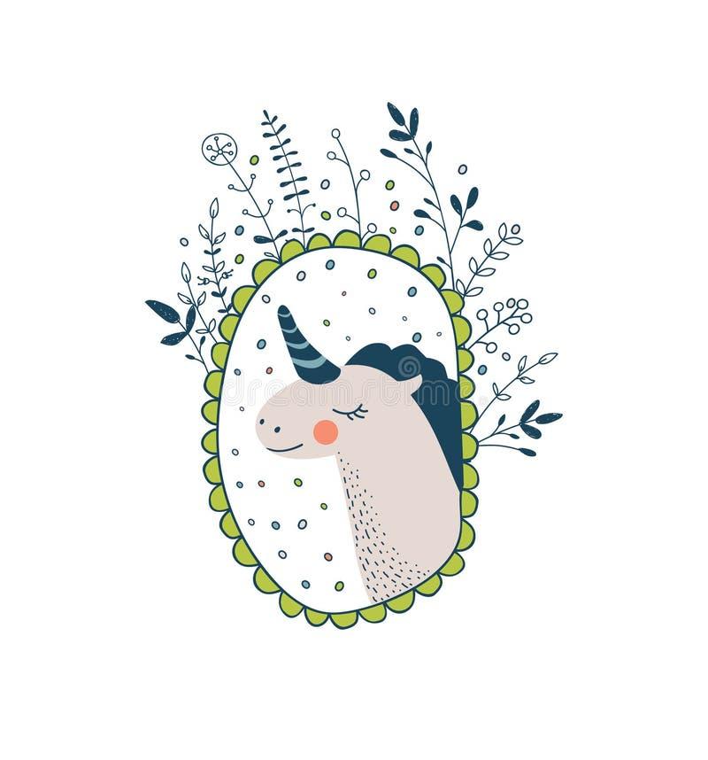 Collection magique mignonne avec la licorne, arc-en-ciel, ailes féeriques rêve illustration stock