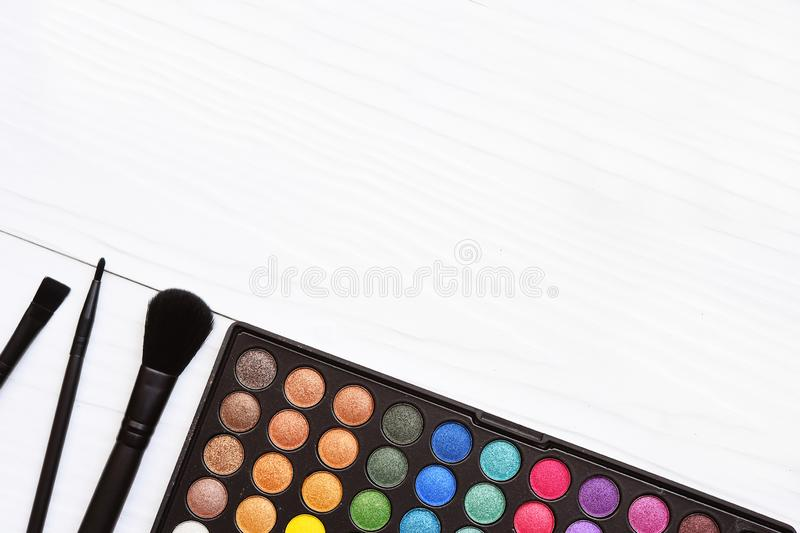 Collection of make up and cosmetic stock photo