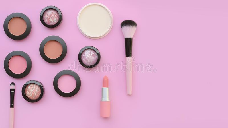 Collection of make up and cosmetic royalty free stock photography