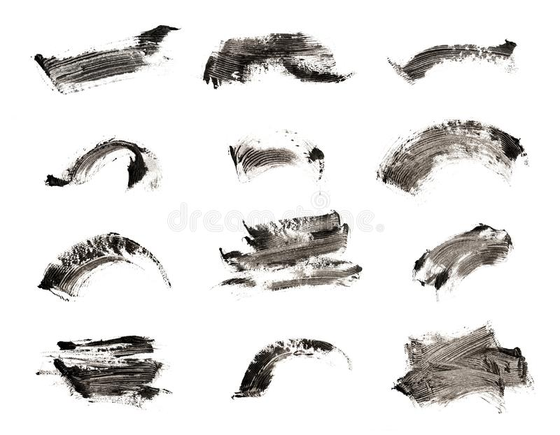 Collection of make-up cosmetic mascara brush stroke texture design isolated on white.  stock photo
