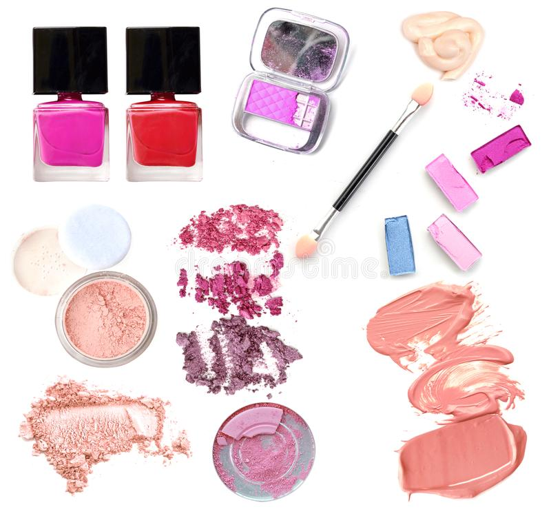 Collection of make up cosmetic products on white royalty free stock images