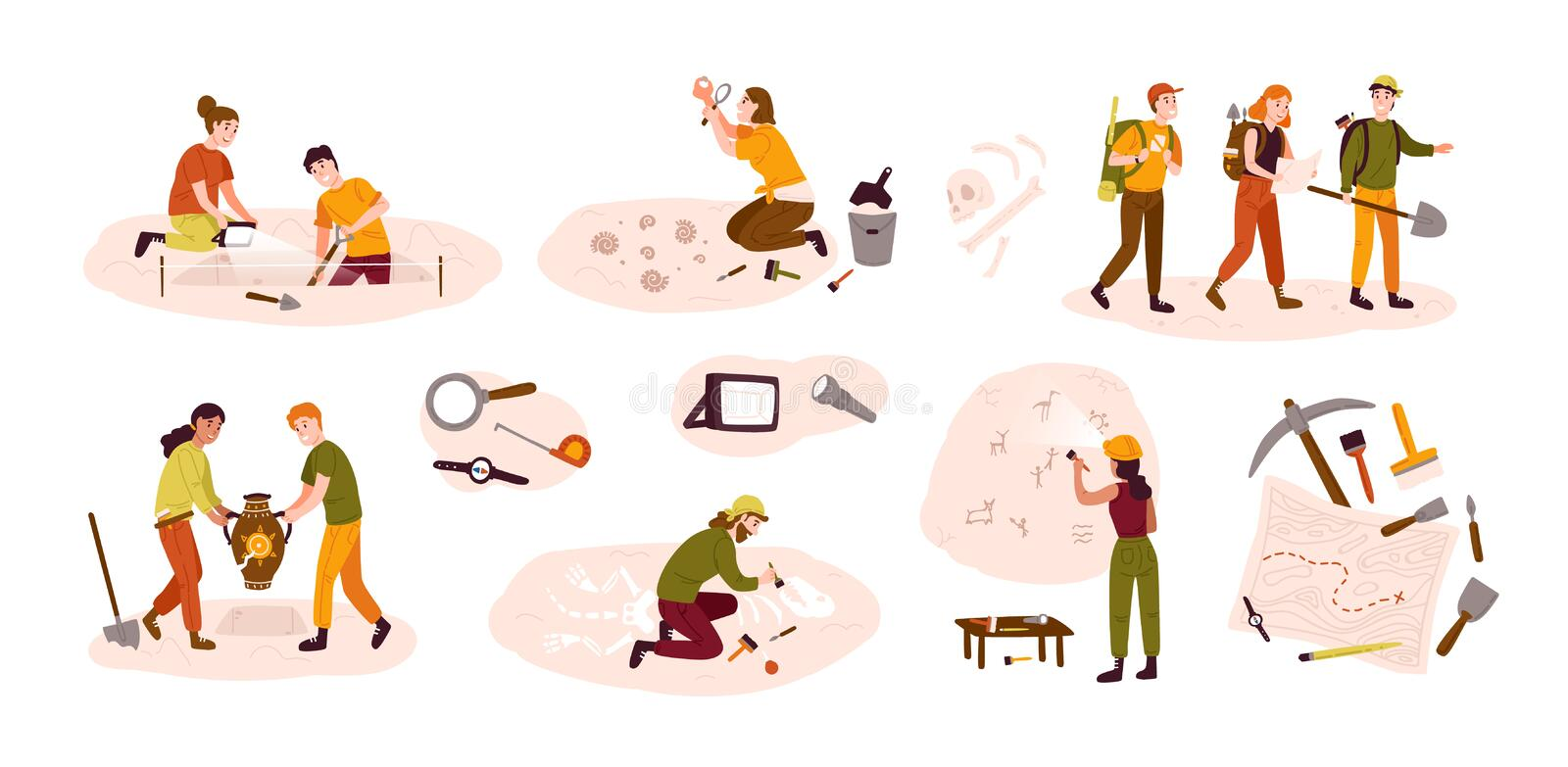 Collection of male and female archaeologists excavating historical artifacts from archaeological site, examining cave. Paintings, digging ground. Colorful vector illustration