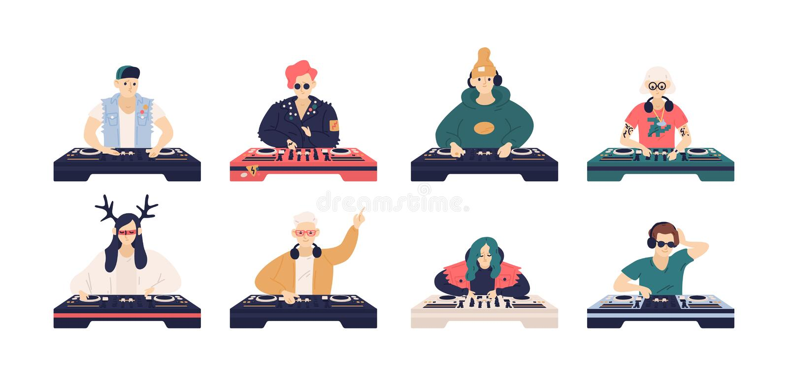 Collection of male and female DJ`s isolated on white background. Bundle of cute funny disc jockeys playing music records. On audio mixers or controller. Vector stock illustration