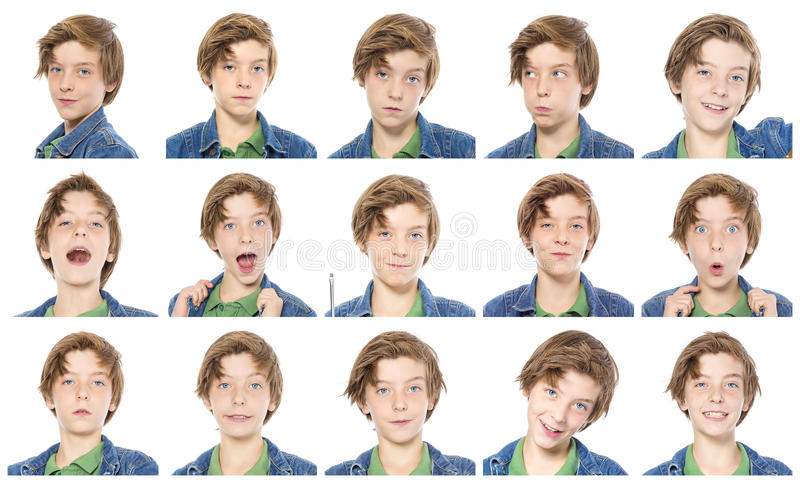 Collection of male teenager portraits stock photography
