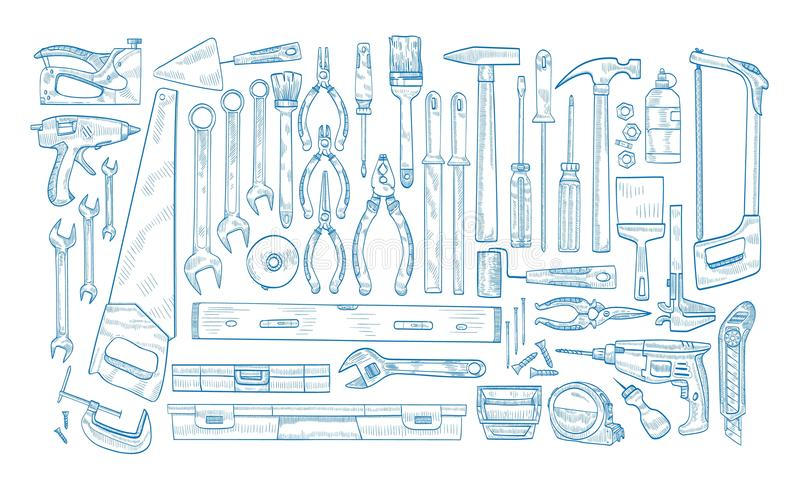 Collection of manual and powered electric tools for woodworking, home repair and maintenance hand drawn with blue. Contour lines on white background. Monochrome stock illustration