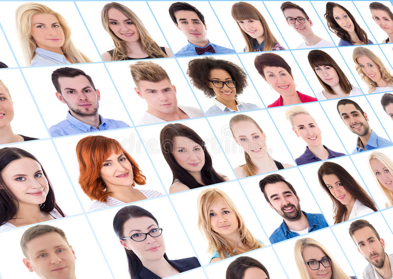 Collection of many business people portraits over white stock photography