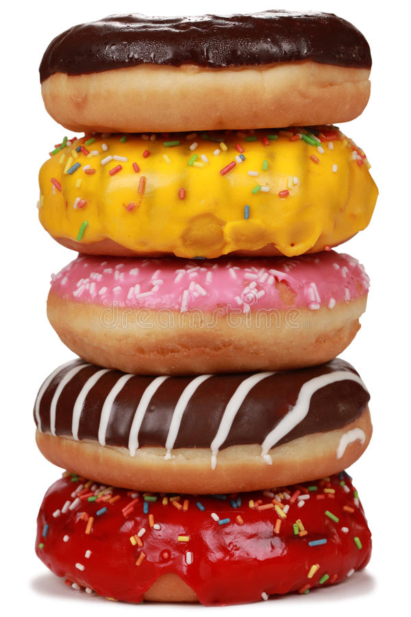 Collection of many colorful donuts royalty free stock images
