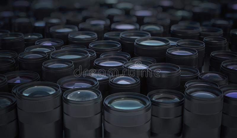 Collection of many DSLR camera lenses. Photographic equipment concept. 3D rendered illustration. Collection of many DSLR camera lenses. Photographic equipment stock illustration