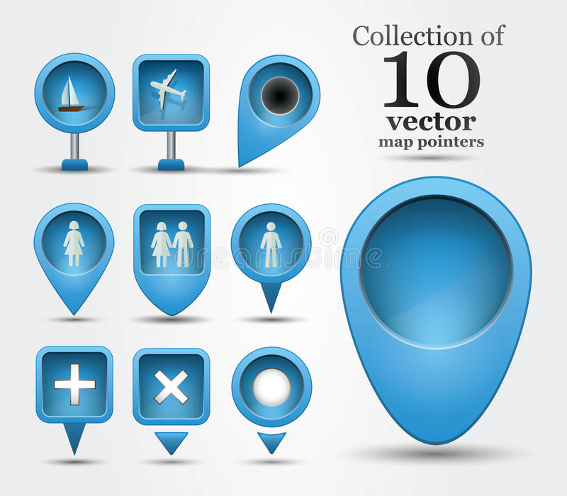 Download Collection of map pins stock vector. Illustration of positioning - 33922707