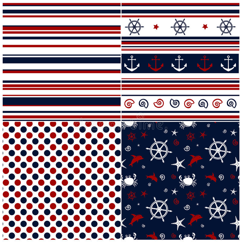 Collection Of Marine Backgrounds In Dark Blue, Red Royalty Free Stock Images