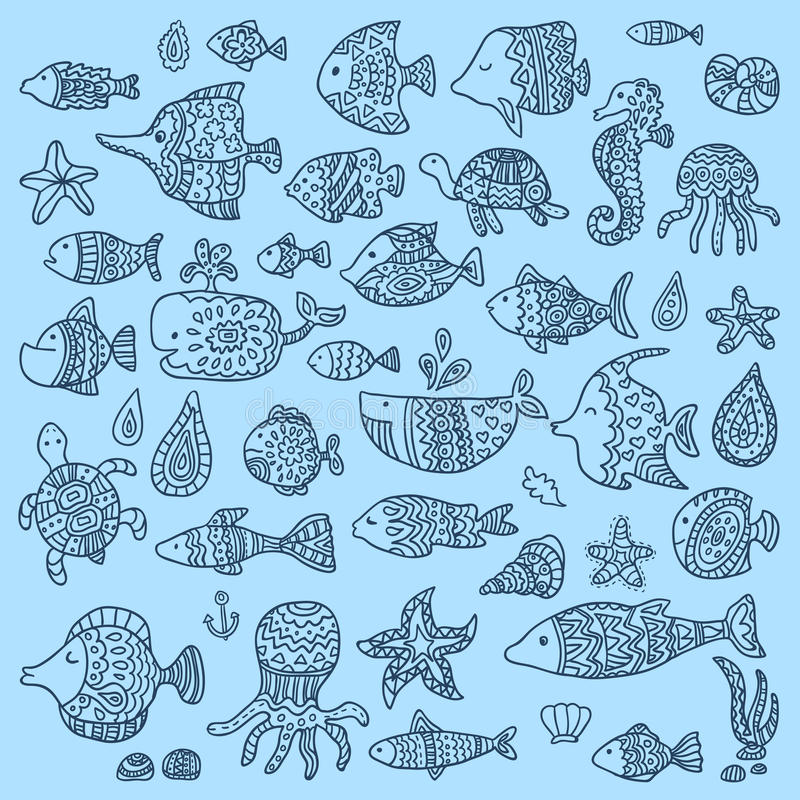 The collection of marine fish and mammals vector illustration