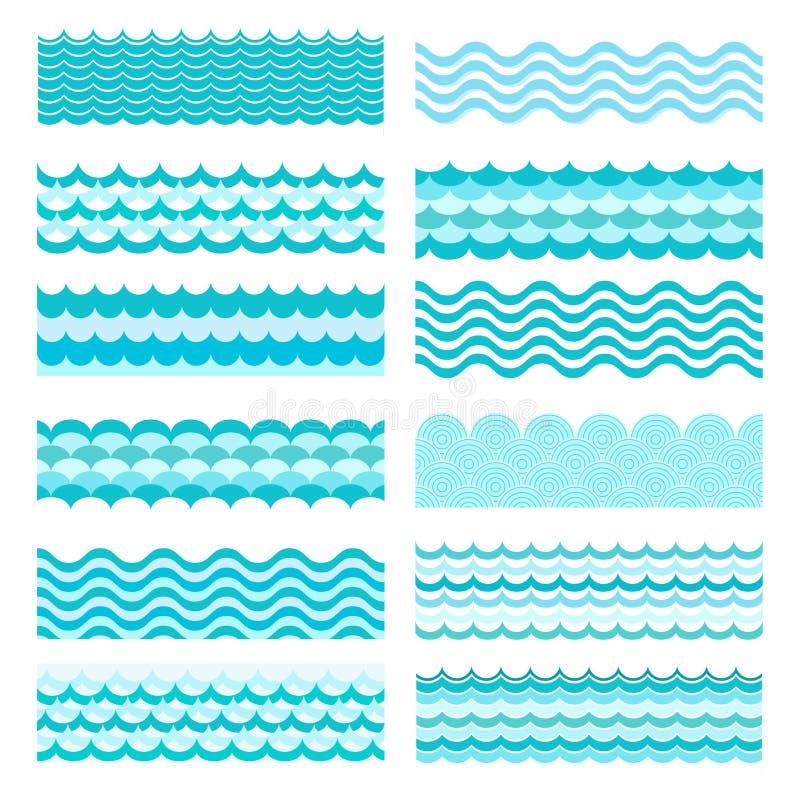 Collection of marine waves. Sea wavy, ocean art water design stock illustration