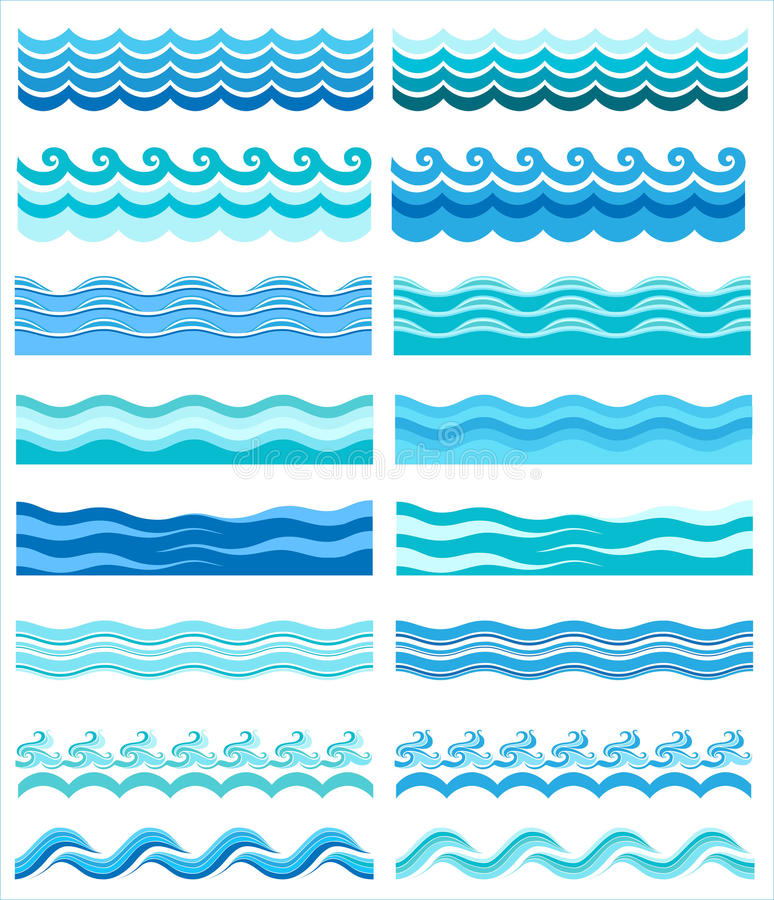 Collection of marine waves, stylized design royalty free illustration
