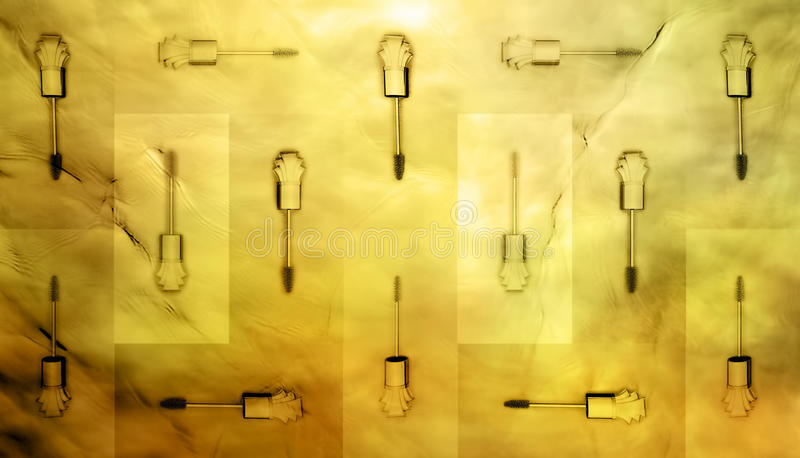 Collection of a mascara shapes on color background. Each one is shot separately royalty free stock image