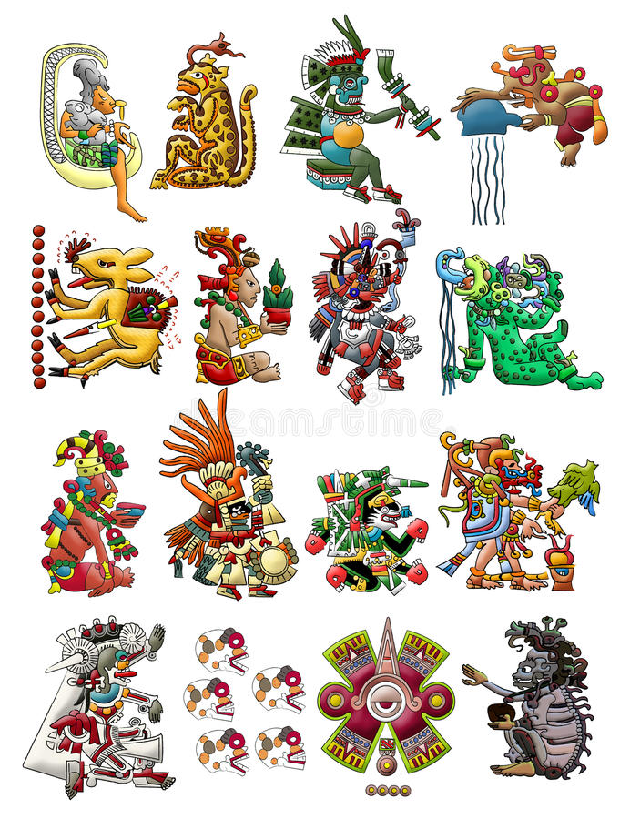 Collection of Mayan deities isolated on white. Collection of Mayan deities, with a white background for easy removal and editing royalty free illustration