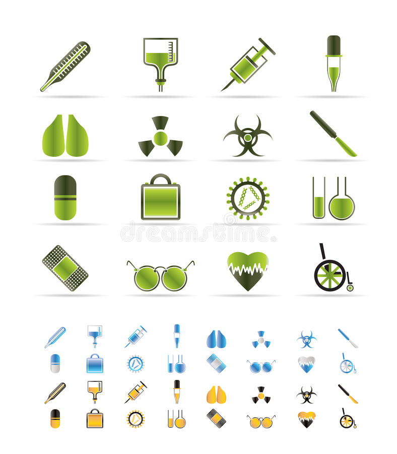 Collection of medical themed icons stock illustration