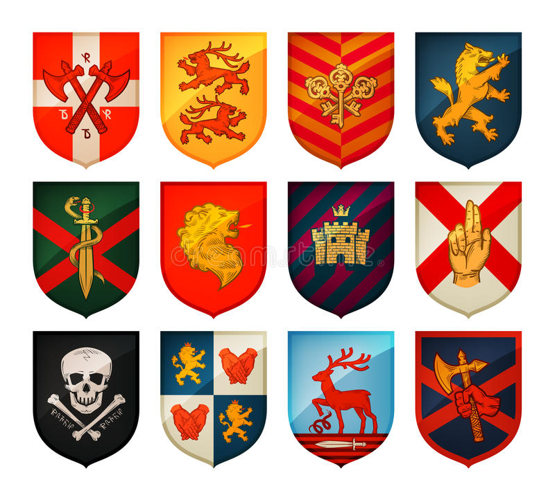 Collection Of Medieval Shields And Coat Arms Kingdom Empire