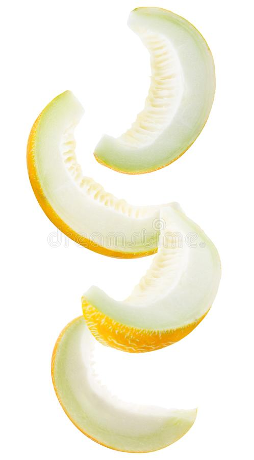 Collection of melon slices isolated on a white background stock images